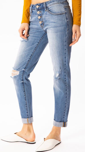 The Beaumont Button Front Distressed Boyfriend Skinnies