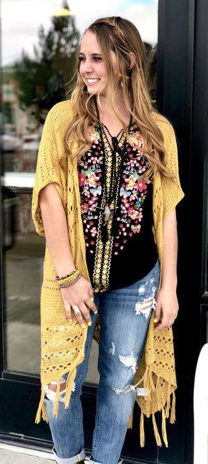The New Madison Mustard Crochet Cardi
