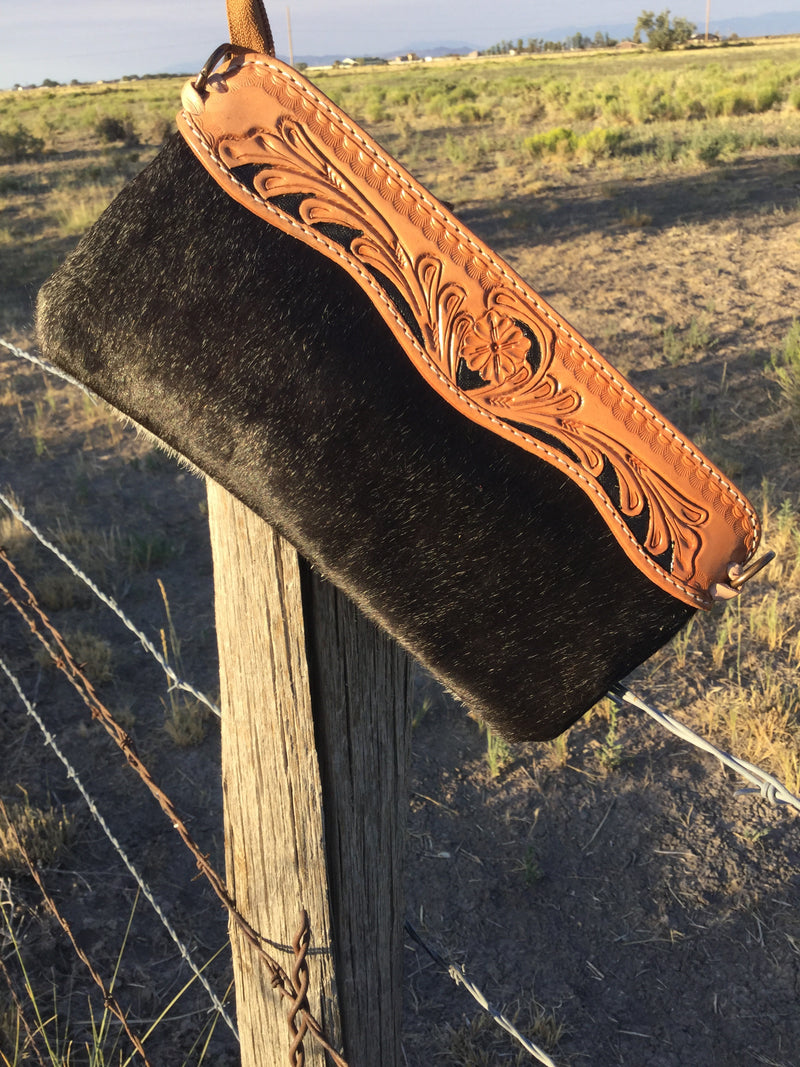 The Black Cowboss Tooled Leather Cowhide Clutch Crossbody