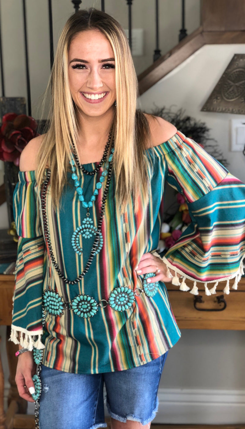 The New Chisholm Serape Pom Top