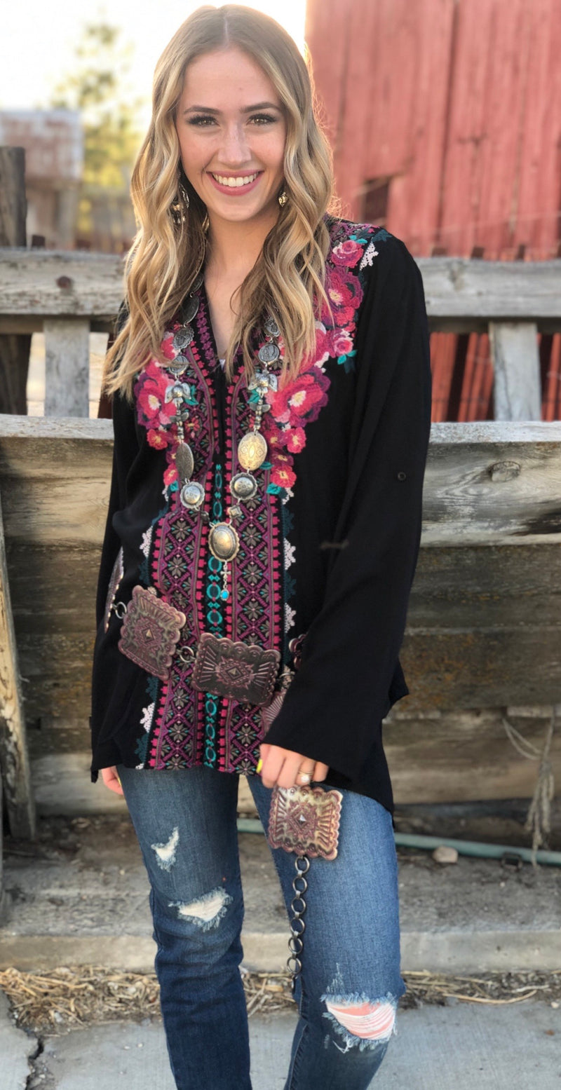 The Black Ellensburg Embroidered Top