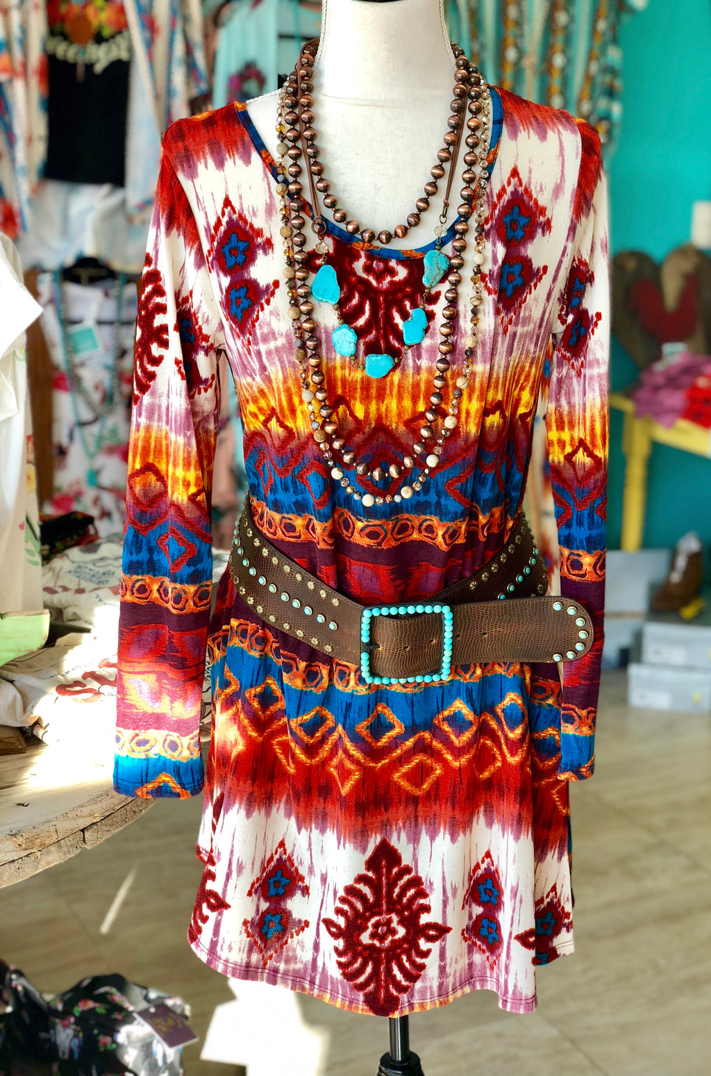 Fall Colors Pocket Tunic Dress