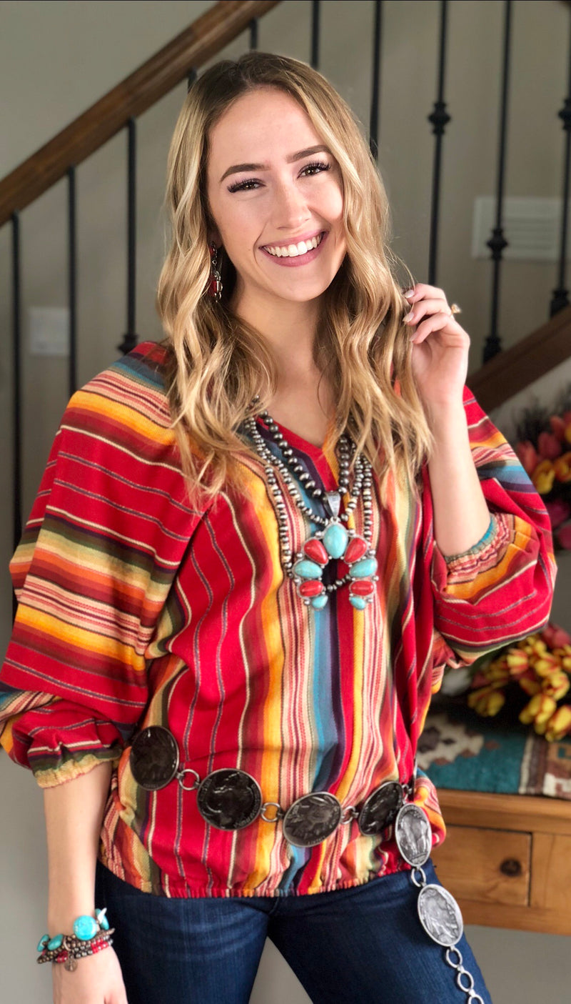 The Red Laredo Serape Double V Top