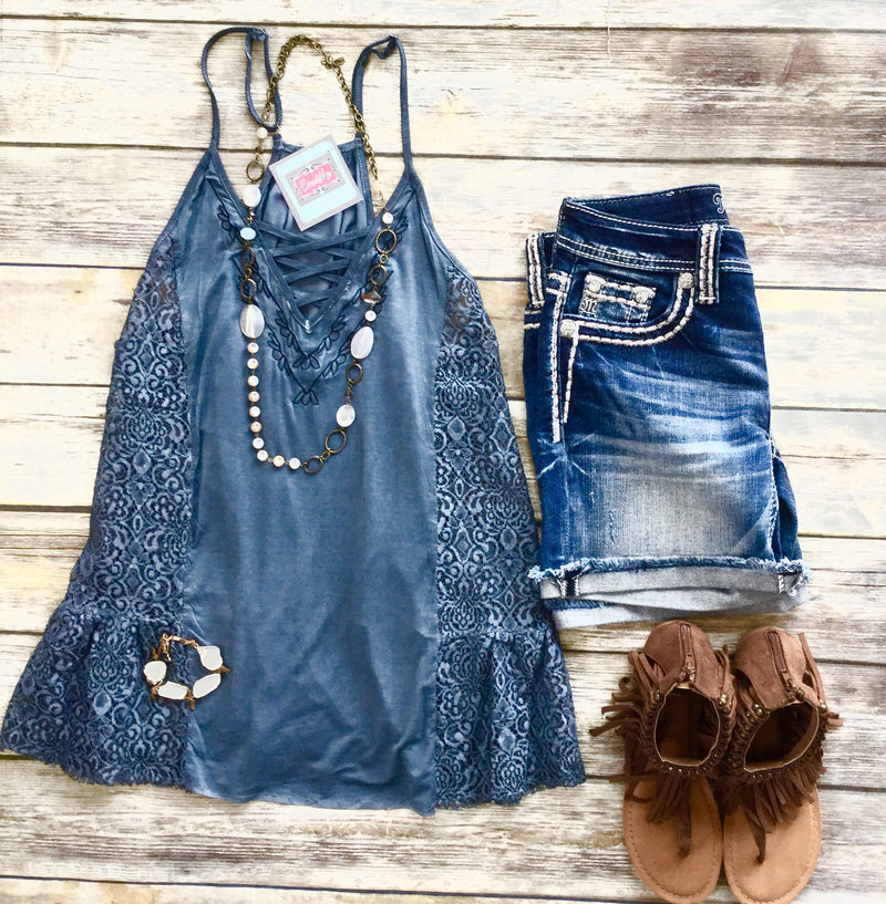 Bella's Blue Lace Inset Tank