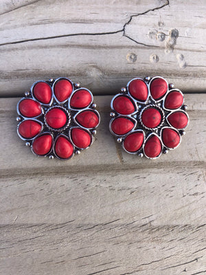 The Red Cluster Coral Earrings