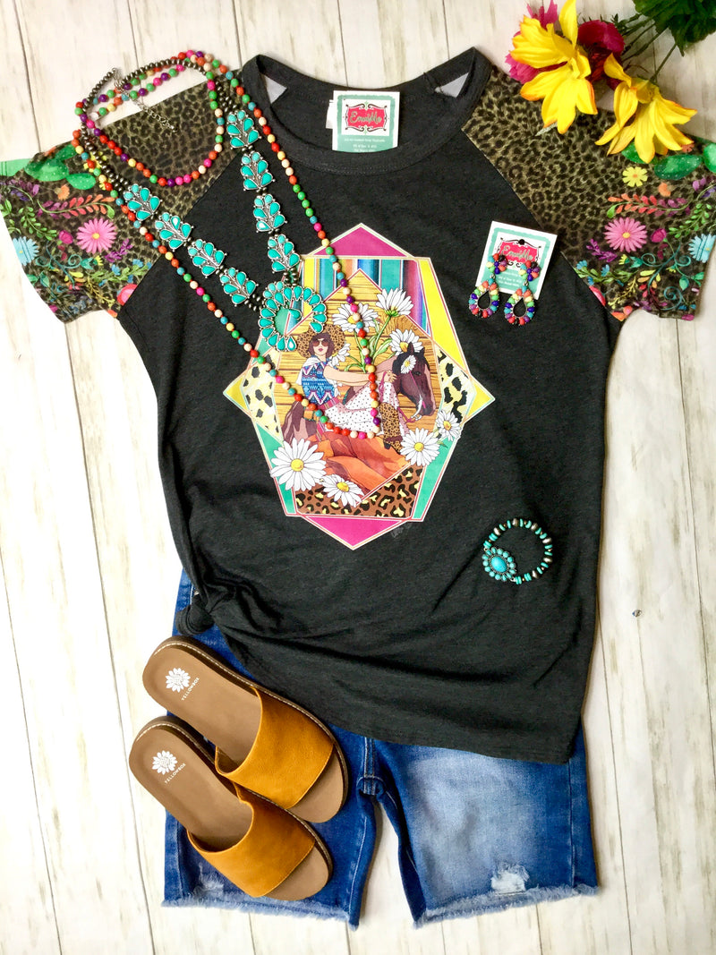 The Sunflower 🌻 Cowgirl Cheetah Floral Sleeve Cactus 🌵 Tee