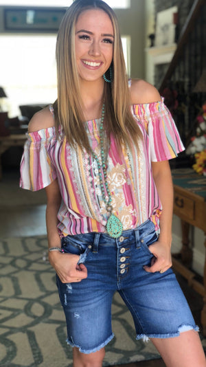 The Santa Ana Off Shoulder Embroidered Top