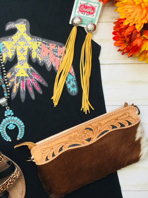 The Cowboss Tooled Cowhide Clutch Crossbody