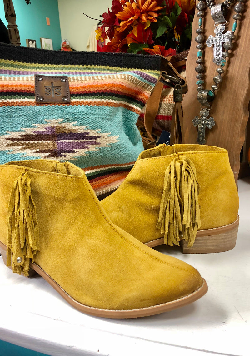 The Mustard Francisco Leather Fringe Bootie