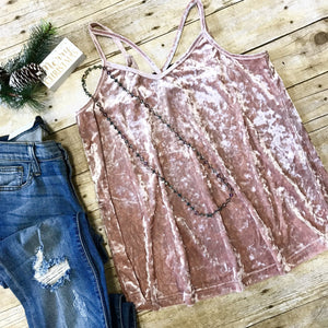 O So Peachy Pink Velvet Tank