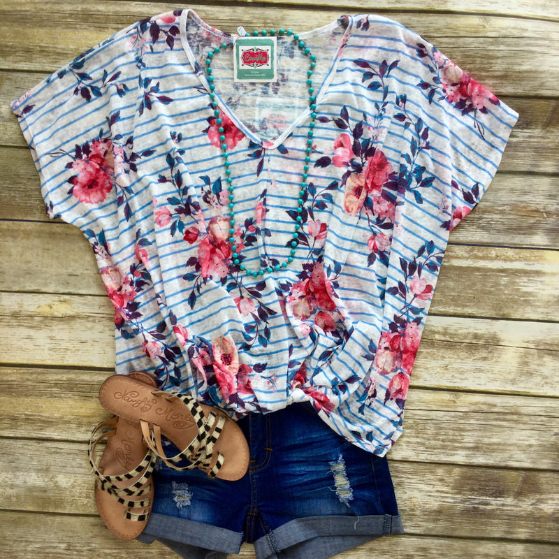 Pretty As a Picture Floral Stripe Top
