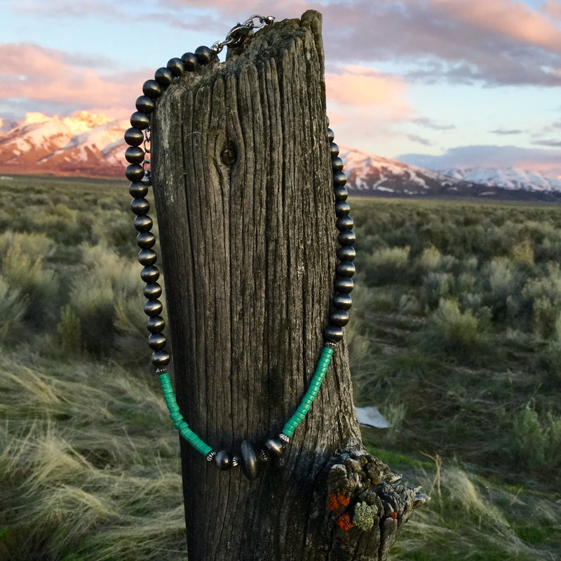 Silver & Turquoise Navajo Pearl Necklace