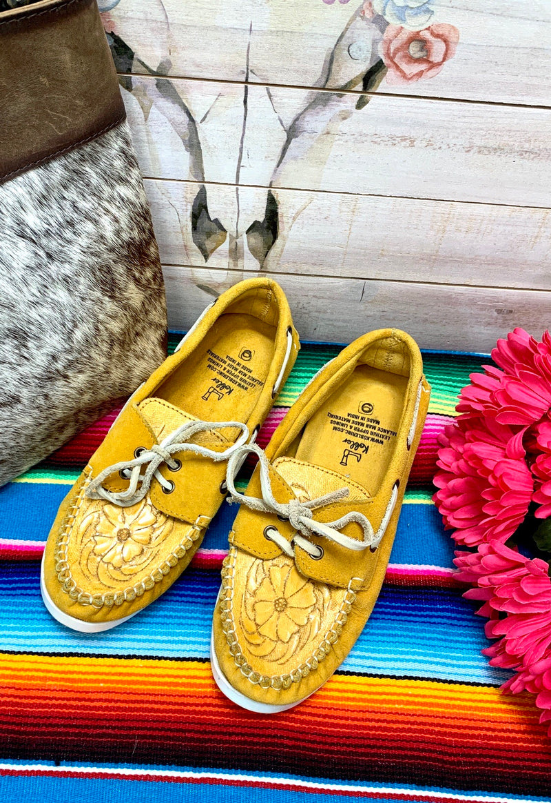 The Maneula Tooled Mustard Leather Slip On