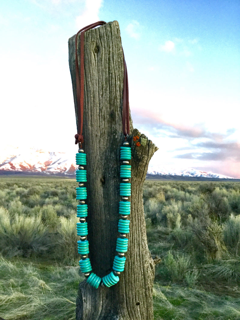 Silver and Turquoise on Leather Necklace