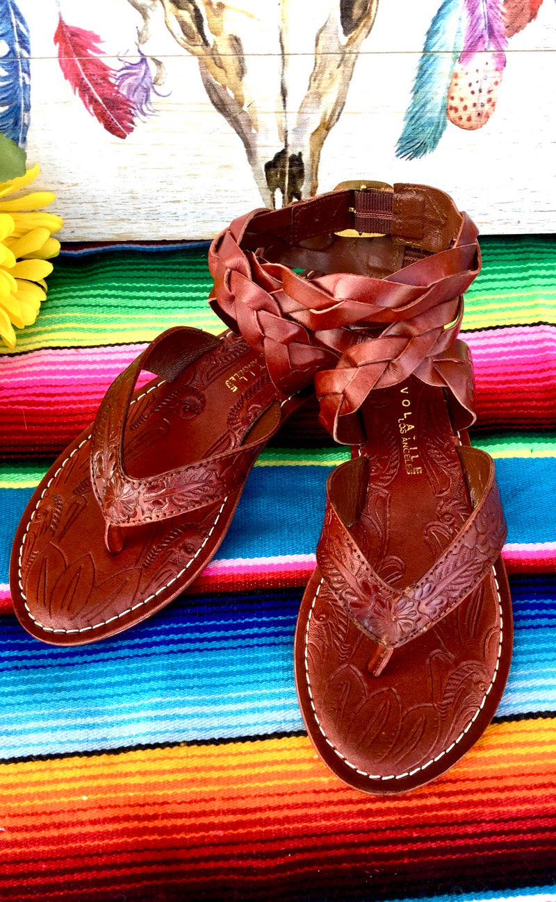 The Whiskey Santa Fe Tooled Sandal