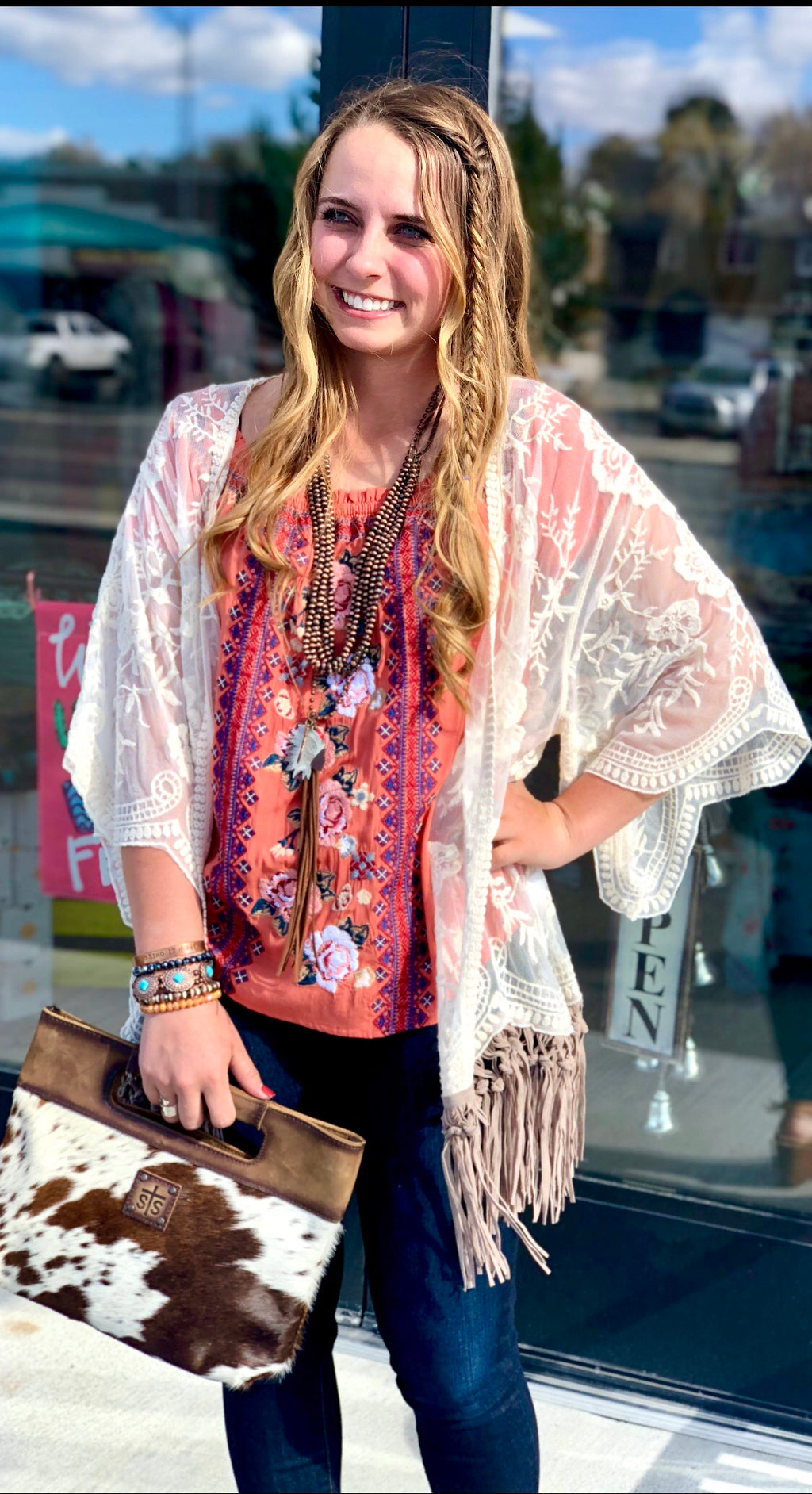 The Tuscaloosa Lace and Fringe Kimono