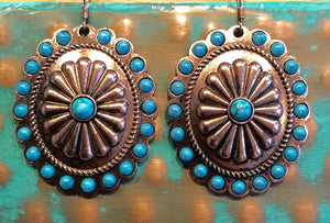 Copper and Turquoise Oval Earrings