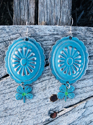 The Lucky Turquoise Concho Earrings