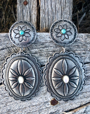 The Sierra Silver Concho Earrings With Stones