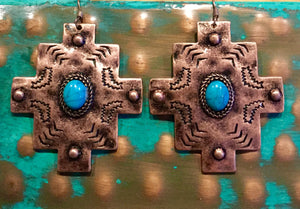 Copper Southwest Cross Earrings