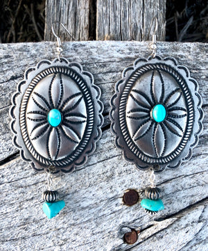 The Yachea Silver & Turquoise Concho Earrings