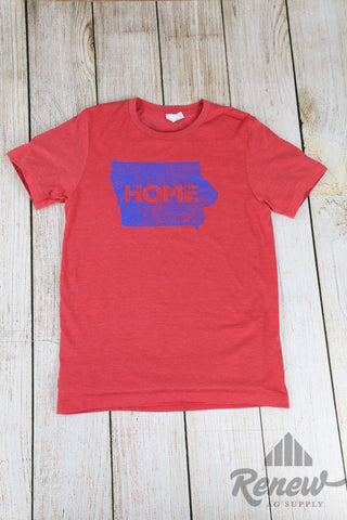 Adult Home Tee- Red/Blue