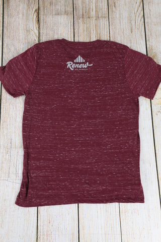 Adult Raised Up: Maroon/ Silver V-Neck Tee