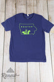 Adult Rooted Tee: Navy Blue/Lime Green