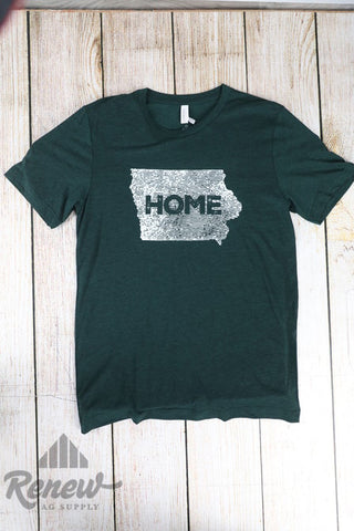 Adult Home Tee-Emerald Green/White