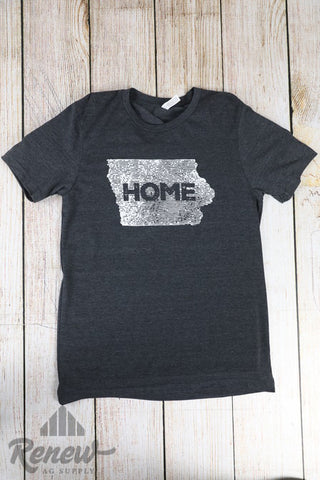Adult Home Tee-Charcoal/White