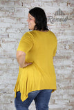 ST3621P- Mustard Criss Cross Front Short Sleeve