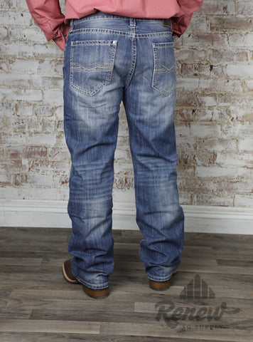 M0S5125: Lighter Wash Men's Rock & Roll Denim Straight Leg Jeans