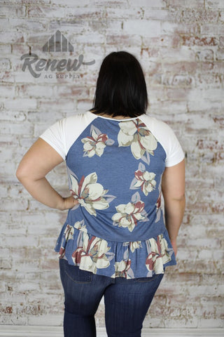 BT030259: Plus Size Blue Floral Short Sleeve Raglan