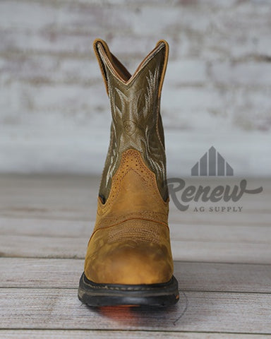10008633- Round Toe Olive Green Workhog Boots