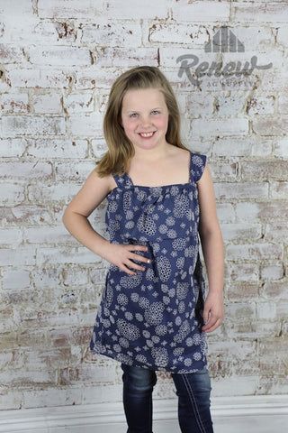 GDR018: Blue Cutout Girls' Cold Shoulder Dress