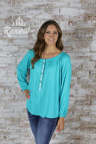10020379-Turquoise L/S Tunic with White/Grey Stitch Detail