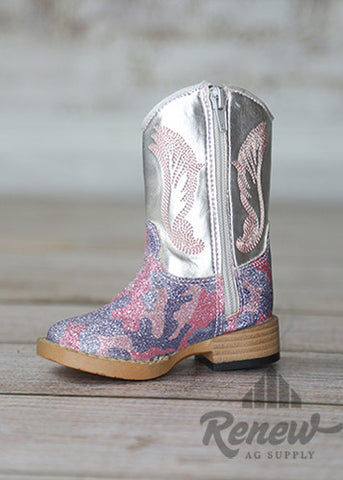 4414230-Infant Girls Sparkle Silver Boots