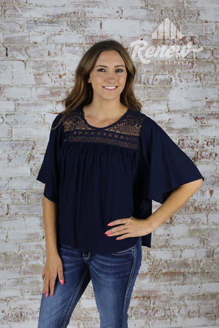 10020567- Women's Navy Flare Sleeve Top