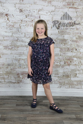 GDR044: PPLA Girls Navy Floral Chiffon Dress