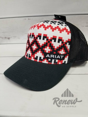 1518401:Men's Ariat Black & Red Aztec Flexfit Hat