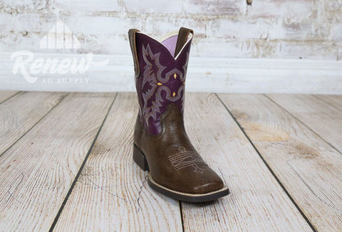 10015390- Girls Purple Ariat Tombstone Boots