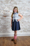 SGS176076-Girls' Silver Denim Plaid Dress