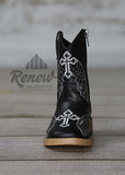 4413201- Infant/Toddler Black with Silver Inlay Boots