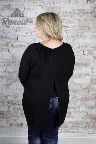 CL20223: Plus Size Black Knit Top with Back Tie