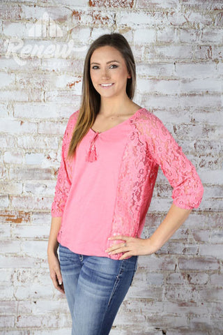 10019446-Women's Ariat Pink Lace Detail Top
