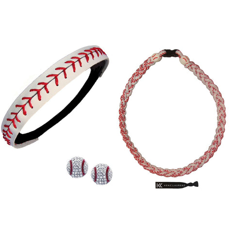 Baseball Necklace Titanium Braided Sports Necklaces Headband Earring Set
