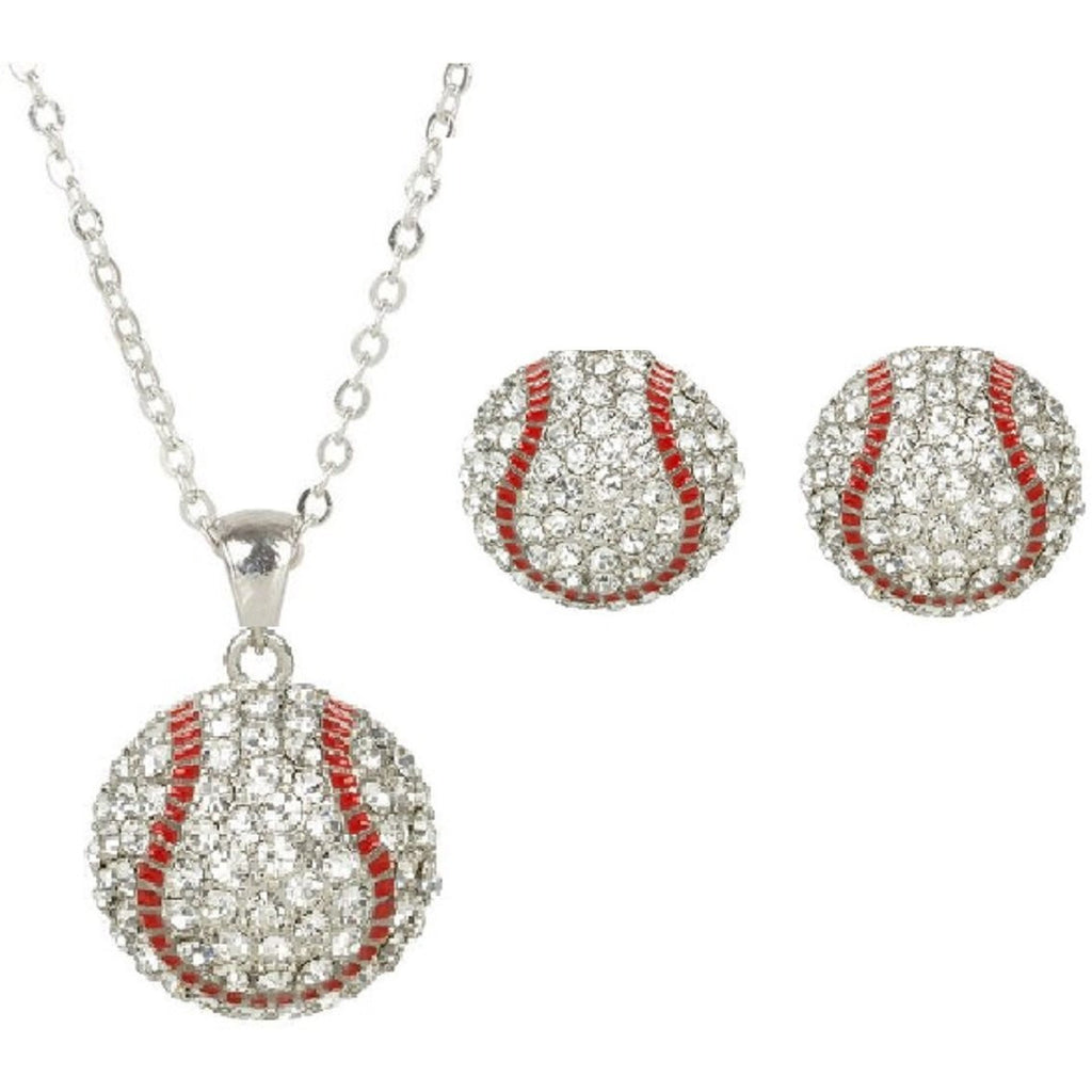 Baseball Set Rhinestone Necklace and Post Earring Set Gift for Mom