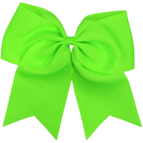 Neon Green Cheer Hair Bow Large with Ponytail Holder