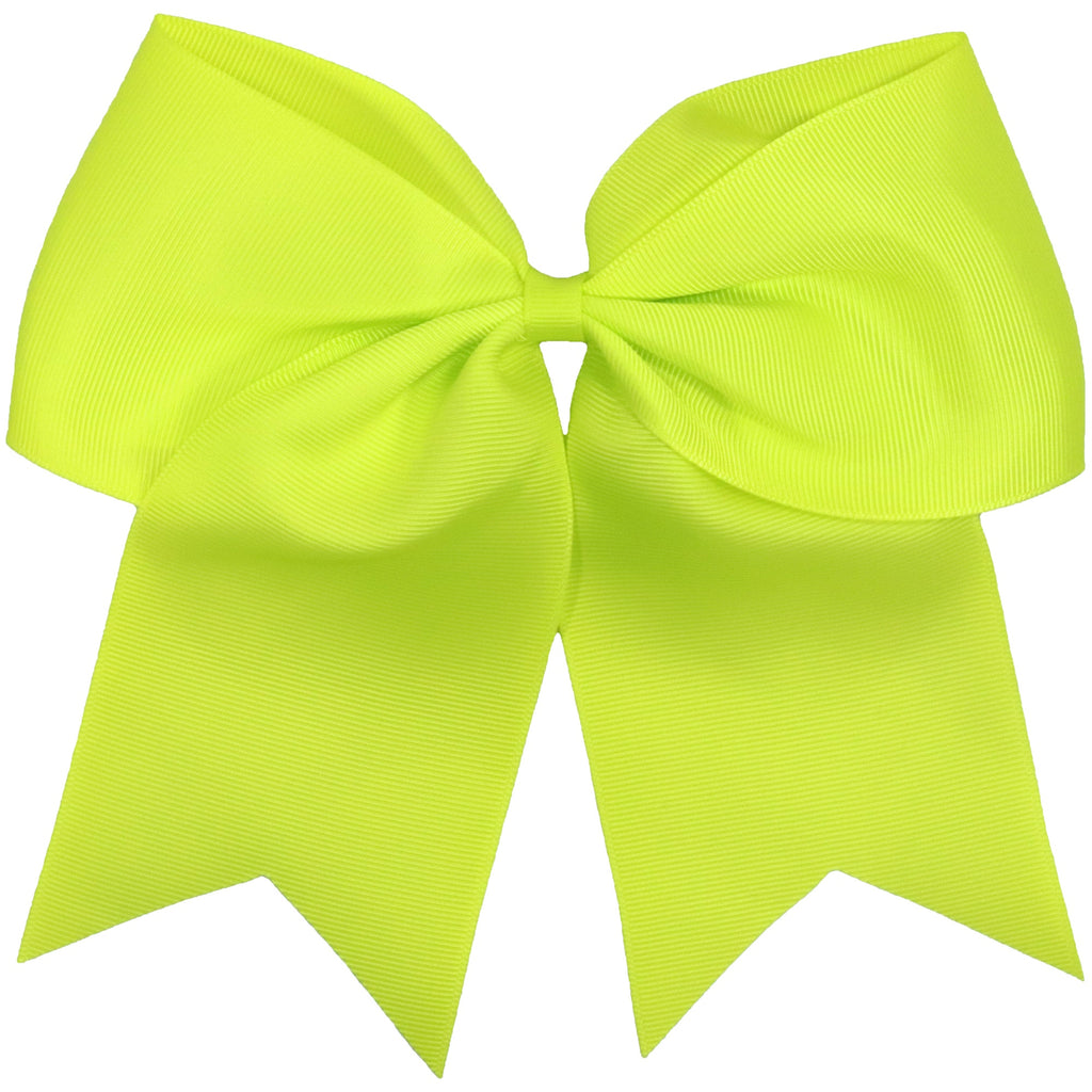 Neon Yellow Cheer Hair Bow Large Hair Bows with Ponytail Holder