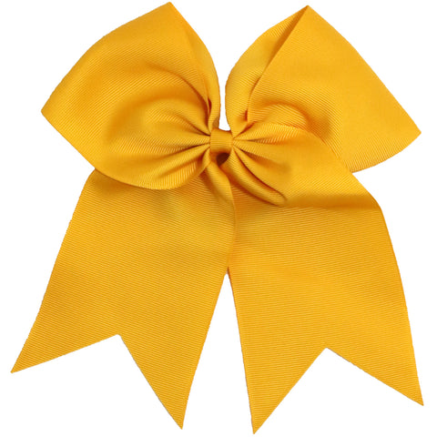 "1 Athletic Gold Cheer Bow for Girls 7"" Large Hair Bows with Clip Holder Ribbon"